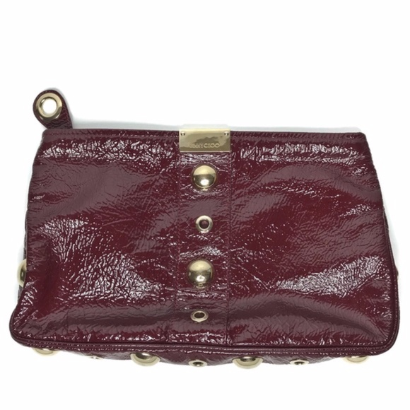 Jimmy Choo Handbags - Jimmy Choo Patent Leather Clutch Maroon Red Gold